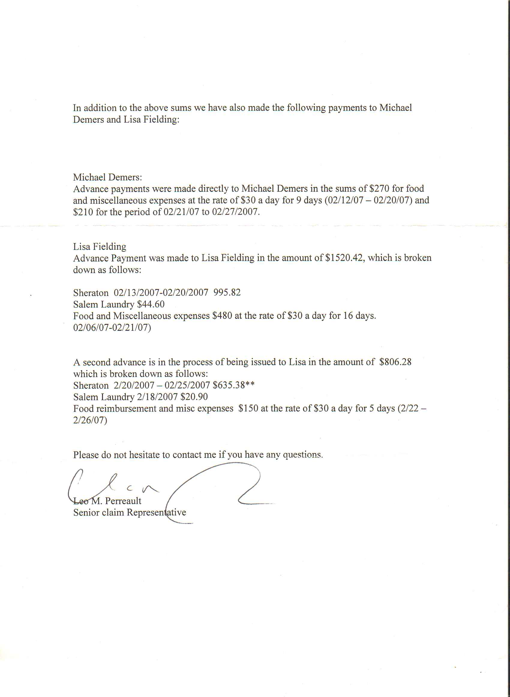 Letter Insurance Company Placing Claim Agency Director