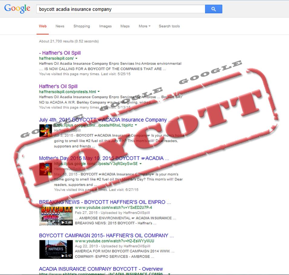 BoycottAcadiaGoogle